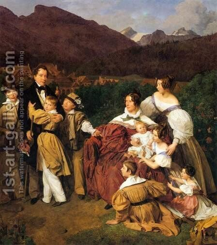 The Eltz Family by Ferdinand Georg Waldmuller - Reproduction Oil Painting