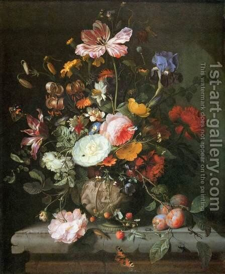 Flowers in a Stone Vase by Jacob van Walscapelle - Reproduction Oil Painting