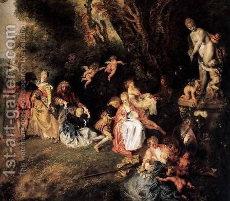 Pilgrimage to Cythera (detail) 2 by Jean-Antoine Watteau - Reproduction Oil Painting