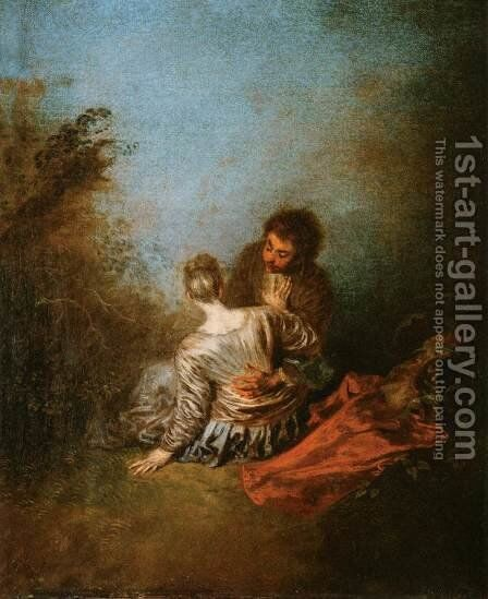 The Blunder by Jean-Antoine Watteau - Reproduction Oil Painting