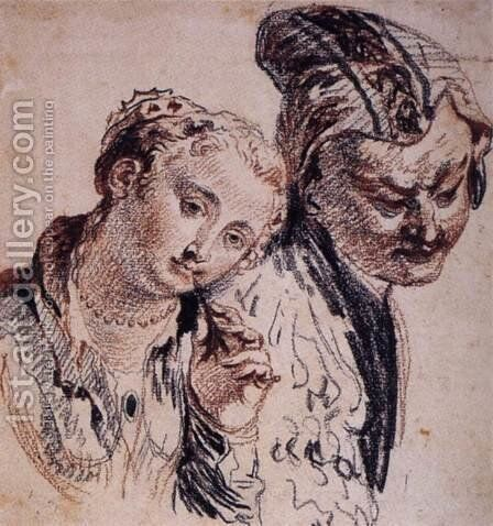 Sketch with Two Figures by Jean-Antoine Watteau - Reproduction Oil Painting