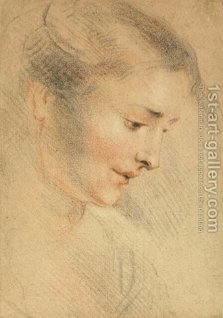 Study of a Woman's Head by Jean-Antoine Watteau - Reproduction Oil Painting