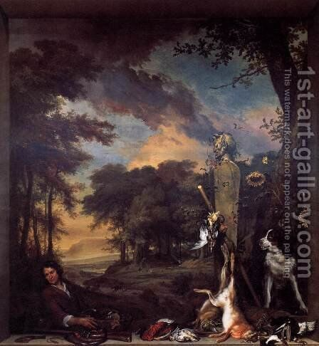 Landscape with Huntsman and Dead Game by Jan Weenix - Reproduction Oil Painting