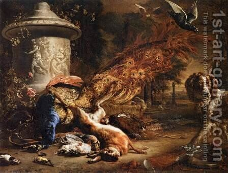 Still-Life with a Peacock and a Dog by Jan Weenix - Reproduction Oil Painting