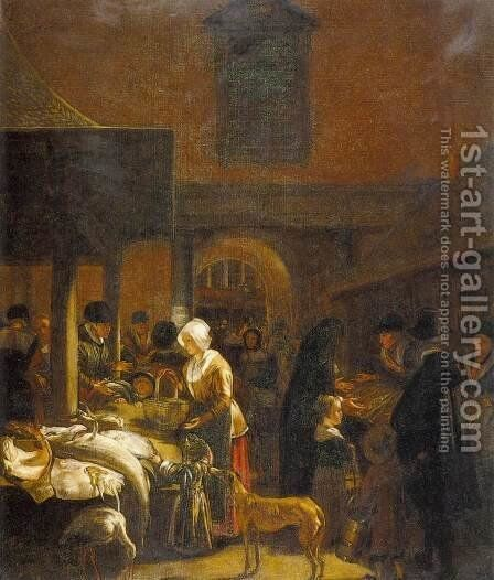 The Old Fish Market on the Dam, Amsterdam by Emanuel de Witte - Reproduction Oil Painting