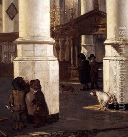 Interior of the Oude Kerk, Delft (detail) by Emanuel de Witte - Reproduction Oil Painting