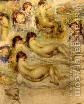 Studies of Nudes The Artists Children and his Wife by Pierre Auguste Renoir - Reproduction Oil Painting