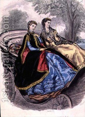 Ladies dresses from Madame Breant Castel by (after) Colin, Adele Anais - Reproduction Oil Painting