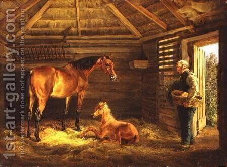 English Mare With Her Foals 1833 by Albrecht Adam - Reproduction Oil Painting