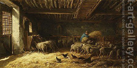 The Sheepfold 1857 by Charles Émile Jacque - Reproduction Oil Painting