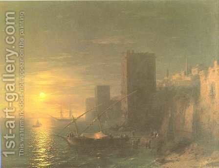 A Lunar night in the Constantinople by Ivan Konstantinovich Aivazovsky - Reproduction Oil Painting