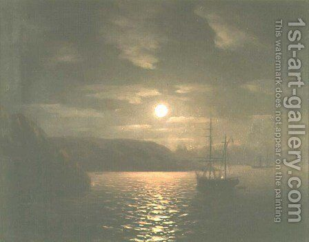 A Lunar night on the Black sea by Ivan Konstantinovich Aivazovsky - Reproduction Oil Painting