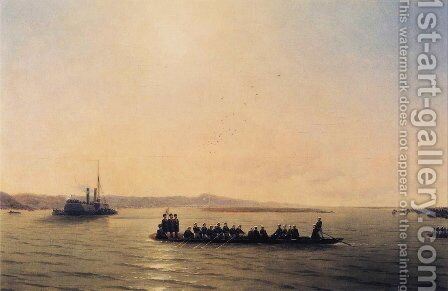 Alexander II Crossing the Danube by Ivan Konstantinovich Aivazovsky - Reproduction Oil Painting