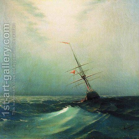 At night Blue wave by Ivan Konstantinovich Aivazovsky - Reproduction Oil Painting