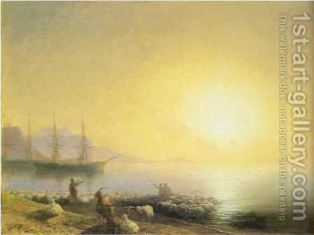 Bathing of a sheeps by Ivan Konstantinovich Aivazovsky - Reproduction Oil Painting