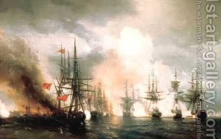 Battle near Sinop by Ivan Konstantinovich Aivazovsky - Reproduction Oil Painting