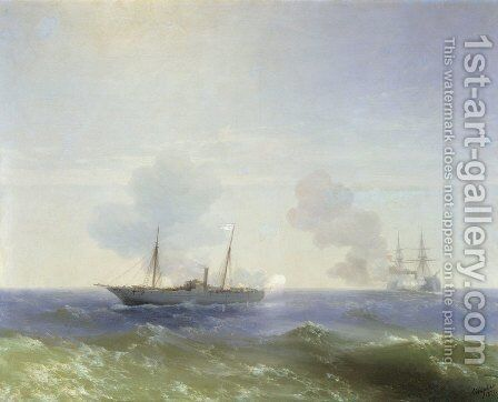 Battle of steamship Vesta and Turkish ironclad by Ivan Konstantinovich Aivazovsky - Reproduction Oil Painting