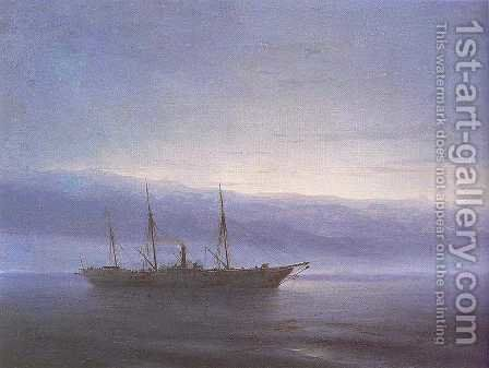 Before battle Ship Constantinople by Ivan Konstantinovich Aivazovsky - Reproduction Oil Painting