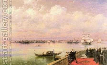 Byron visiting mhitarists on island of St Lazarus in Venice by Ivan Konstantinovich Aivazovsky - Reproduction Oil Painting