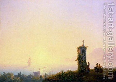 Chapel on seashore by Ivan Konstantinovich Aivazovsky - Reproduction Oil Painting