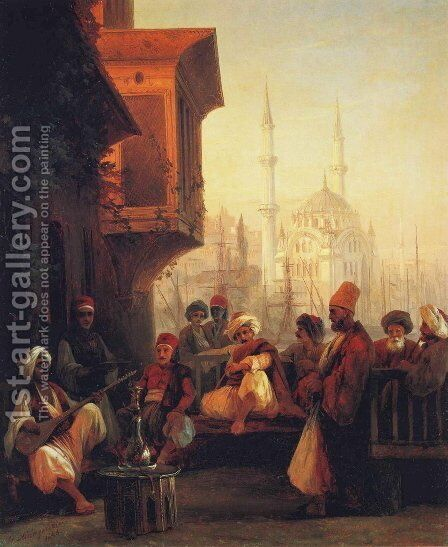 Coffee house by the Ortakoy Mosque in Constantinople by Ivan Konstantinovich Aivazovsky - Reproduction Oil Painting