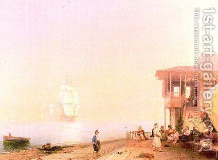 Embankment of oriental town by Ivan Konstantinovich Aivazovsky - Reproduction Oil Painting