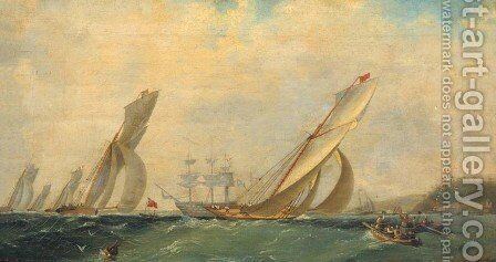 Frigate on a sea by Ivan Konstantinovich Aivazovsky - Reproduction Oil Painting