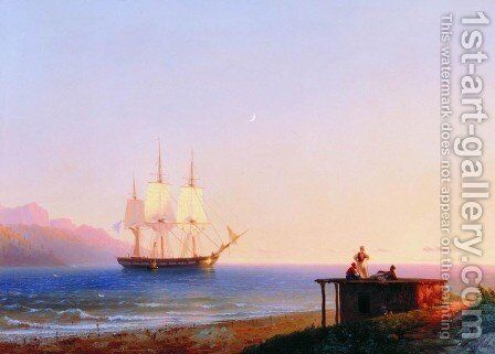 Frigate under sails by Ivan Konstantinovich Aivazovsky - Reproduction Oil Painting