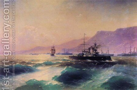 Gunboat off Crete by Ivan Konstantinovich Aivazovsky - Reproduction Oil Painting