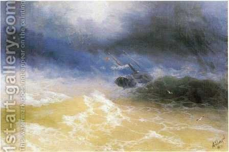 Hurricane on a sea by Ivan Konstantinovich Aivazovsky - Reproduction Oil Painting