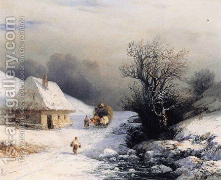 Little Russian Ox Cart in Wintert by Ivan Konstantinovich Aivazovsky - Reproduction Oil Painting
