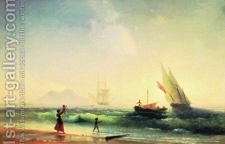 Meeting of a fishermen on coast of the bay of Naples by Ivan Konstantinovich Aivazovsky - Reproduction Oil Painting