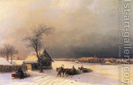 Moscow in Winter from the Sparrow Hills by Ivan Konstantinovich Aivazovsky - Reproduction Oil Painting