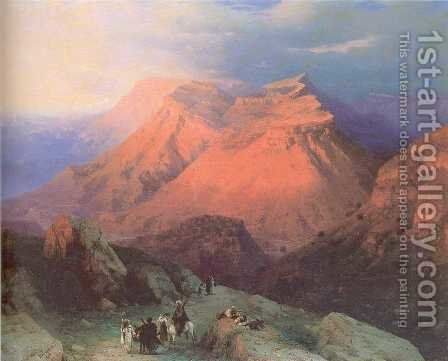 Mountain Village Gunib in Daghestan View from the East by Ivan Konstantinovich Aivazovsky - Reproduction Oil Painting