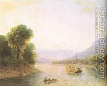 River Rioni Georgia by Ivan Konstantinovich Aivazovsky - Reproduction Oil Painting
