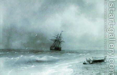Rough sea by Ivan Konstantinovich Aivazovsky - Reproduction Oil Painting