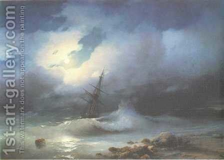 Rough sea at night by Ivan Konstantinovich Aivazovsky - Reproduction Oil Painting
