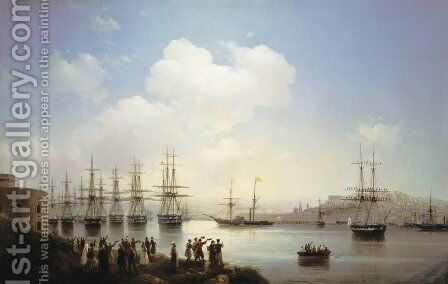 Russian squadron on the raid of Sevastopol by Ivan Konstantinovich Aivazovsky - Reproduction Oil Painting