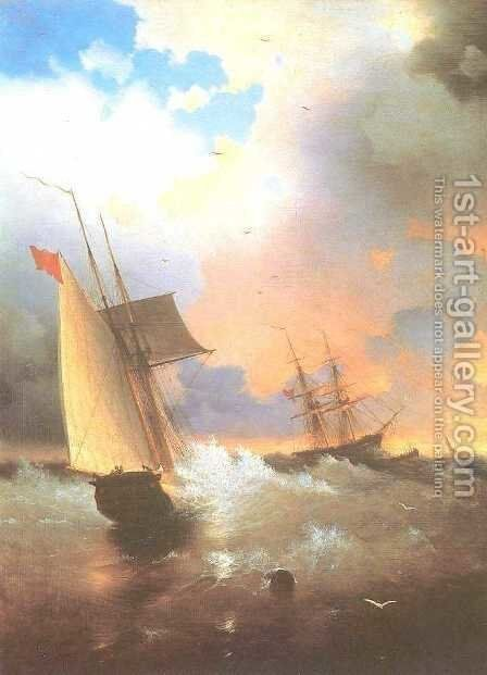 Sailing ship by Ivan Konstantinovich Aivazovsky - Reproduction Oil Painting