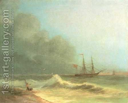 Sea before storm by Ivan Konstantinovich Aivazovsky - Reproduction Oil Painting