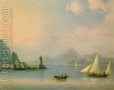 Sea channel with lighthouse by Ivan Konstantinovich Aivazovsky - Reproduction Oil Painting