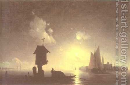 Sea view with chapel by Ivan Konstantinovich Aivazovsky - Reproduction Oil Painting