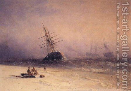 Shipwreck on the Black Sea by Ivan Konstantinovich Aivazovsky - Reproduction Oil Painting