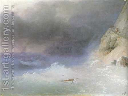 Tempest by rocky coast by Ivan Konstantinovich Aivazovsky - Reproduction Oil Painting