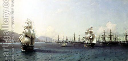 The Black Sea fleet in Feodosiya by Ivan Konstantinovich Aivazovsky - Reproduction Oil Painting