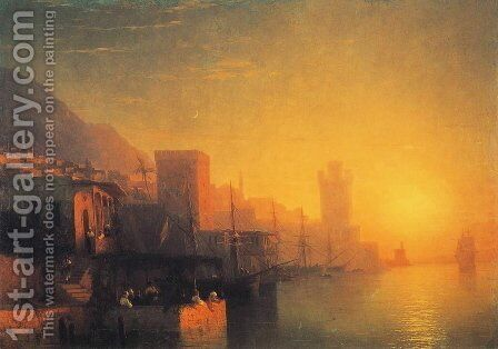 The Island of Rhodes by Ivan Konstantinovich Aivazovsky - Reproduction Oil Painting