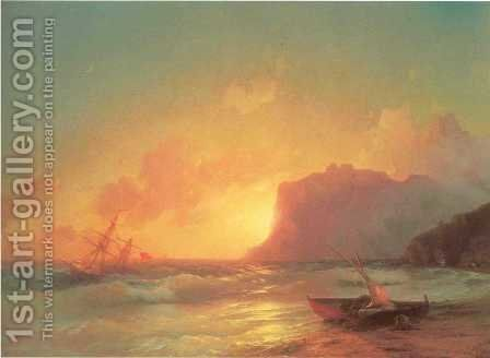 The Sea Koktebel by Ivan Konstantinovich Aivazovsky - Reproduction Oil Painting