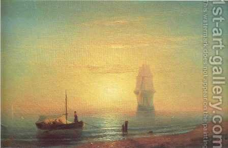 The sunset on sea by Ivan Konstantinovich Aivazovsky - Reproduction Oil Painting