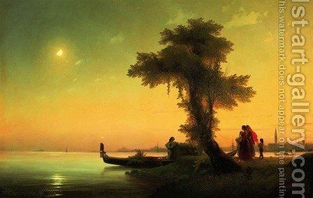 View on lagoon of Venice by Ivan Konstantinovich Aivazovsky - Reproduction Oil Painting