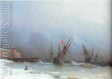 Warning of storma by Ivan Konstantinovich Aivazovsky - Reproduction Oil Painting